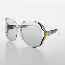 Oversized Huge Gray Jackie O Vintage Sunglasses Transition Lens - Phyllis