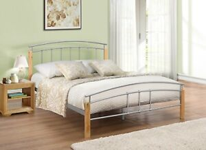 3FT 4FT 4FT6 5FT Modern Design Steel Bed Frame Wood Bed Posts Mattress Options