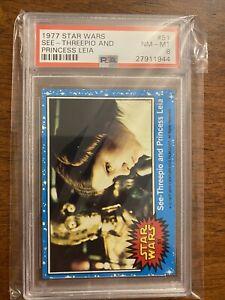 Topps 1977 Star Wars - See Threepio & Princess Leia #51- Trading Card - PSA 8