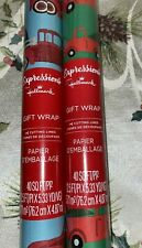 2 Hallmark Expressions RED TRUCK Country Christmas Wrapping Paper 40 Sq Ft Rolls