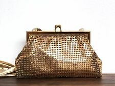 VTG WHITING & DAVIS SPARKLING GOLD METAL MESH FRAME KISS LOCK COIN PURSE CLUTCH