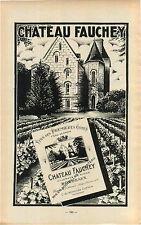 "ADVERT "" Mini Poster "" Bordeaux Chateau Fauchey Vineyard Wine Maker Correa"