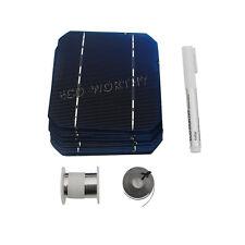 80pcs 5x5 Mono Solar Cells KIT w/Tabbing,Bus Wire &Flux Pen DIY 200W Solar Panel