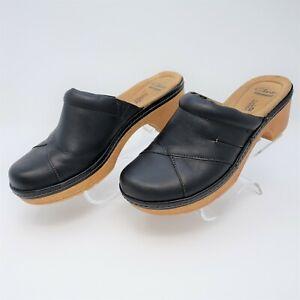 Clarks Women's Preslet Sheen Black Leather Clog Size US 8 M EUR 39 26118095