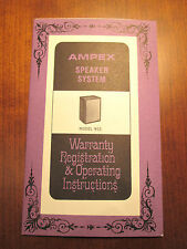ORIG Ampex 915 Speakers, 1967, 4 page foldout Warranty Registration Instructions