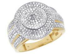 Ladies Men's 10K Yellow Gold Real Diamond Puff Pillow Pinky  Ring 0.92 CT 15MM
