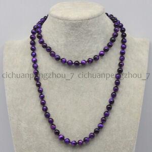 6/8/10/12mm Natural Purple Tigers Eye Round Gemstone Beads Necklace 16-48''