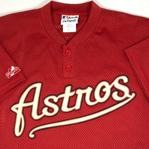 Houston Astros Two-Button Mesh Jersey by Majestic (L)