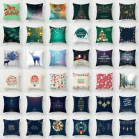 Christmas Santa Snowflake Cushion Cover Home Car Sofa Decor Throw Pillow Case