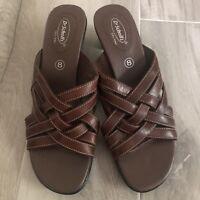 Dr Scholls Womens Brown Leather Weave Open Toe Slip-On Sandals Slide Size 8