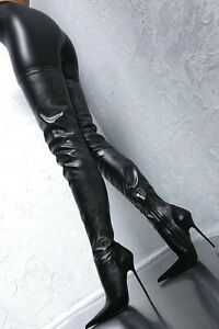 Sexy Occident Womens Pointed Toe Thigh High Nightclub Boots Heel Stilettos Shoes