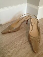 ANN TAYLOR Nude Neutral Patent Leather Slingback Heels 9 Lindsay $108 NEW!