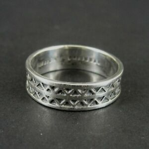 Sarah Ring Silver Zig Zag Triangle Design Band Sterling 925 Size 10.5 Ring Band