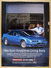 1991 Pontiac Grand Prix GTP blue car Rusty Wallace photo vintage print Ad