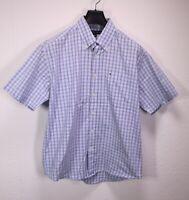 HB303 Tommy Hilfiger Herren Hemd Shirt blau kariert Gr. L Kurzarm Button-Down