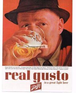 1963 Schlitz Beer Man Enjoys Glass Vintage Ad