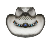 WHITE Tea Stain COWBOY Straw HAT w/ Turquoise Blue Beads WOMEN WESTERN Cowgirl