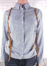 MAISON SCOTCH Bluse Damen mit braunen Leder Strapsen.Blaue und weiße Farben Gr,S