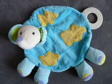 Doudou BABYSUN baby sun éléphant plat bleu jaune anneau