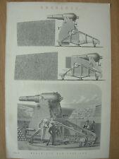 Antico 1880 Vittoriano Stampa Ordnance moncrieff PISTOLA trasporto MILITARE