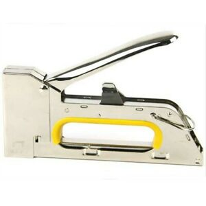 Yellow handle Manual Heavy Duty Stainless Steel Metal Tacker Gun with Staples