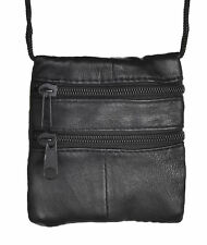 Small Soft Leather Twin Zip Neck Pouch on Cord. Ideal For Travelling