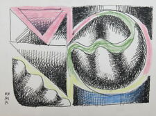 1987 ABSTRACT CUBIST PASTEL / INK PAINTING SIGNED