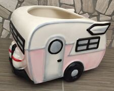 Ceramic Vintage Travel Trailer Planter NEW Color Pink Travel Trailor