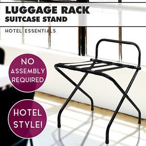 Black Folding Luggage Rack for Hotels Suitcase Rack Bag Storage Suitcase Stand