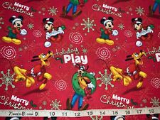 NEW Disney Mickey/Minnie/Goofy Merry Christmas 100% Cotton By FQ (Fat Quarter)