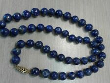 """Vintage lapis beaded necklace, gold filled clasp, 18"""" long, 9mm beads"""