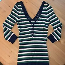 Guess Women's Size XS Sweater V-Neck Striped 3/4 Sleeve