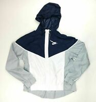Nike NSW Windrunner Jacket Hood Long Sleeve Women's M White Navy Blue 898725