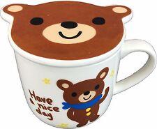 NEW CUTE brown bear ceramic tea cup coffee mug with lid / coaster