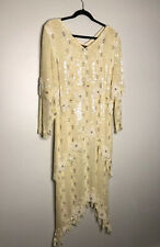 Vintage Megere Silk Sequin Beaded Silk Ivory Layered Full Length Dress Size L
