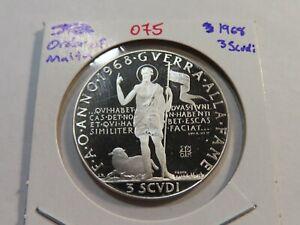 O75 Malta 1968 Silver 3 Scudi Proof
