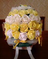 FIORI di CARTA crespa BOUQUET di ROSE con fiocchi e brillantini Nozze Matrimonio
