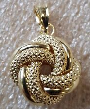 14ct Yellow Gold Hollow Lovers Knot Pendant Charm 0.95g *NEW* Gift Present Xmas