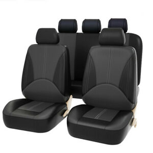 9PCS Full Set PU Leather Car Seat Covers - Front & Rear Two-Tone Black/Gray