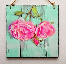 PLACCA Decorativa/immagine vintage shabby chic rose rosa sul legno