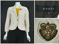 Womens Gucci Cotton Beige Blazer Jacket Shoulder Straps Military Size IT42  UK10