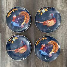 NWT Set of (4) Pier 1 TURKEY and PHEASANT Salad Dessert Plates THANKSGIVING