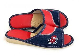 N1138 Damen Hausschuhe, Pantoffeln, Latschen, sandaletten, Leder,