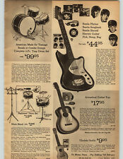 1964 PAPER AD Electric Guitar Beatles Photos Songbook Record Pick Strap Bag