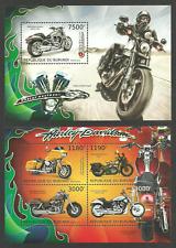 BURUNDI 2012 TRANSPORT MOTORBIKES HARLEY DAVIDSON SET OF 2 M/SHEETS MNH