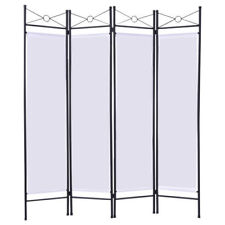 NEW White 4 Panel Room Divider Privacy Screen Home Office Fabric Metal Frame +++