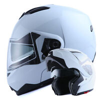 NEW 1Storm DOT Motorcycle Bike Modular Flip up Full Face Helmet Sun Visor White