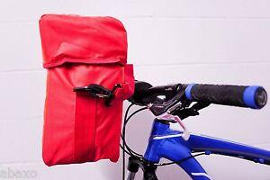Waterproof Bicycle Handlebar Bag w/Map Holder,Shoulder Strap,High Visibility Red