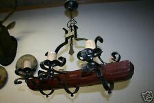 Vintage Wooden / Wrought-Iron 6 Light Castle Chandelier