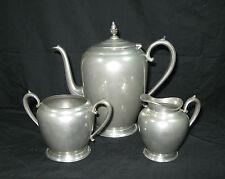 Vintage 3 Piece Sheets Rockford 1875 Pewter Set - Coffee Pot Creamer Sugar Bowl